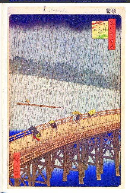 Lluvia repentina sobre el puente. Utagawa Hiroshige
