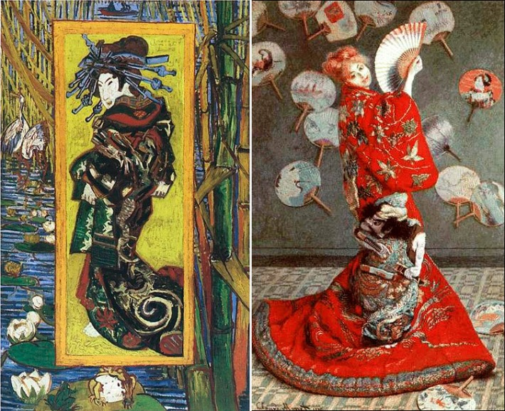 La courtisane. Van Gogh / La Japonaise. Claude Monet. Retrato de su mujer.