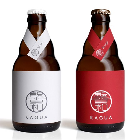 Botellas de cerveza Kagua, diseñadas por Mitsuyoshi Miyazaki