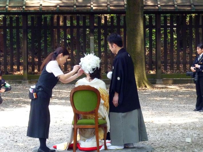 Preparando la foto de boda