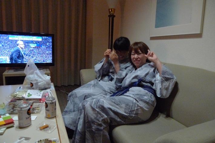 Yôko y Yumi en yukata después del baño