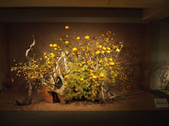 Instalación con 3 frutas en la exposición de la escuela en Kanagawa, enero de 2014