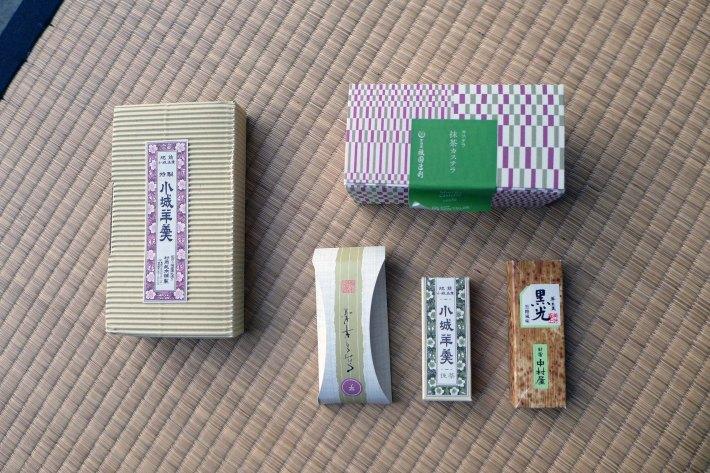 Colección de cajas de yokan y té