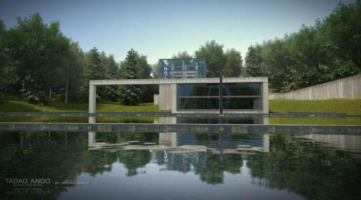 Capilla en el agua de Tadao Ando. Vista desde el exterior.