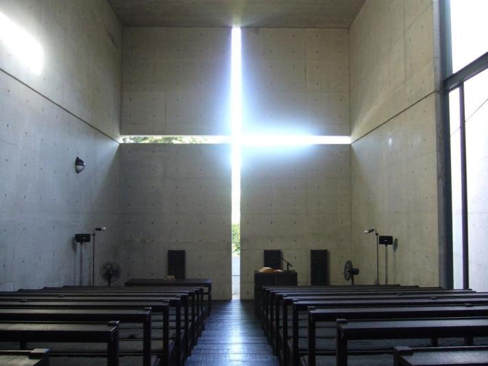 cIglesia de la luz en Takatsuki, cruz de luz. Tadao Ando.