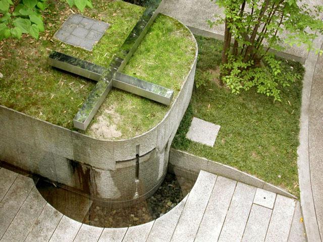 Iglesia de la luz en Takatsuki, vista exterior desde arriba. Tadao Ando.