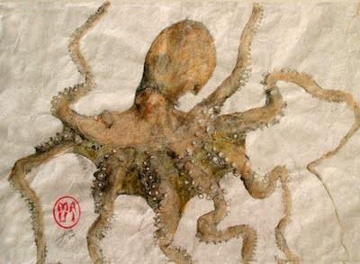 Gyotaku de un pulpo.