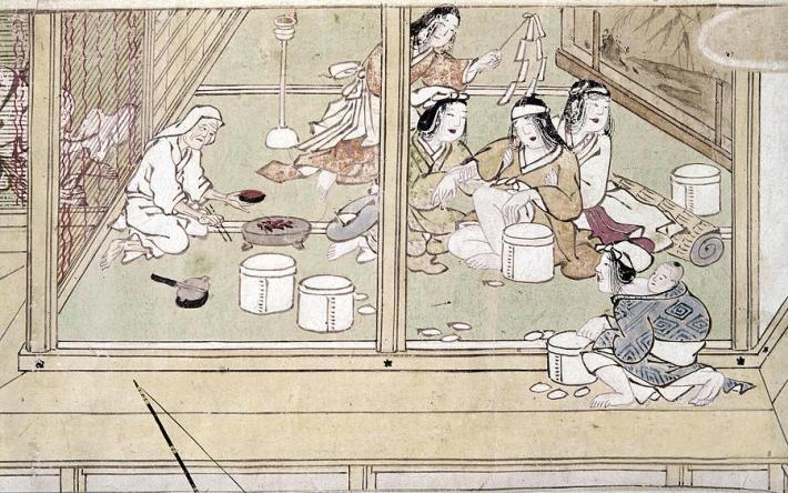 Nacimiento en Japón. Pintura de 1329.