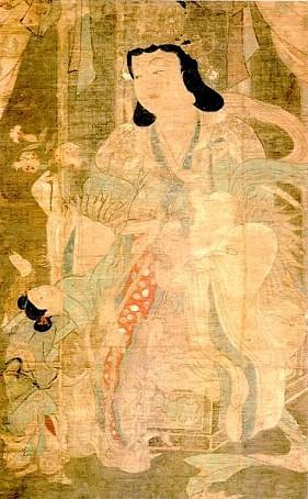 Pintura de Kariteimo, protectora budista de los niños y de los nacimientos.